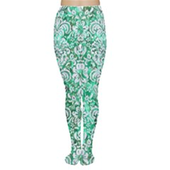 Damask2 White Marble & Green Marble Women s Tights