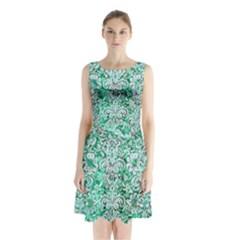 Damask2 White Marble & Green Marble Sleeveless Waist Tie Chiffon Dress