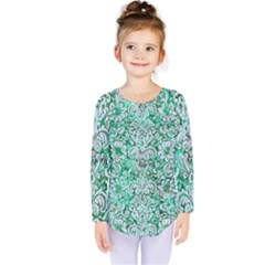 Damask2 White Marble & Green Marble Kids  Long Sleeve Tee