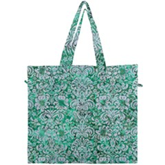 Damask2 White Marble & Green Marble Canvas Travel Bag by trendistuff