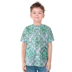 Damask1 White Marble & Green Marble (r) Kids  Cotton Tee