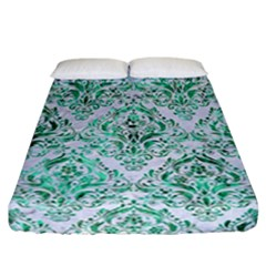 Damask1 White Marble & Green Marble (r) Fitted Sheet (california King Size)