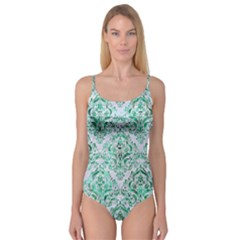 Damask1 White Marble & Green Marble (r) Camisole Leotard