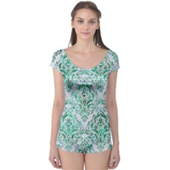 Damask1 White Marble & Green Marble (r) Boyleg Leotard