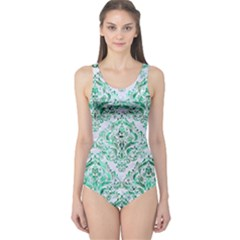 Damask1 White Marble & Green Marble (r) One Piece Swimsuit