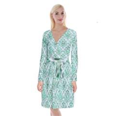 Damask1 White Marble & Green Marble (r) Long Sleeve Velvet Front Wrap Dress by trendistuff