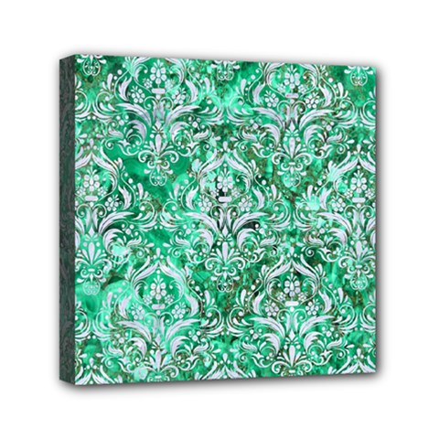 Damask1 White Marble & Green Marble Mini Canvas 6  X 6