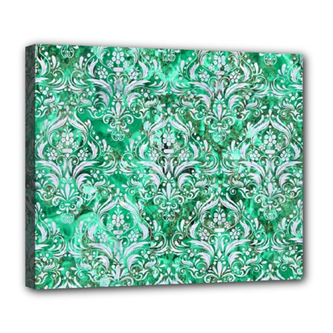 Damask1 White Marble & Green Marble Deluxe Canvas 24  X 20