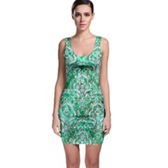 Damask1 White Marble & Green Marble Bodycon Dress