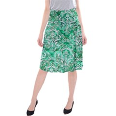 Damask1 White Marble & Green Marble Midi Beach Skirt
