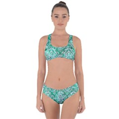 Damask1 White Marble & Green Marble Criss Cross Bikini Set