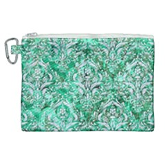Damask1 White Marble & Green Marble Canvas Cosmetic Bag (xl)