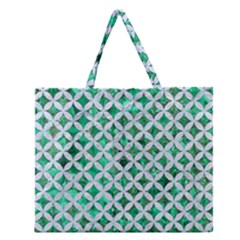 Circles3 White Marble & Green Marble Zipper Large Tote Bag