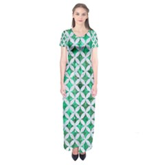 Circles3 White Marble & Green Marble Short Sleeve Maxi Dress