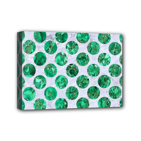 Circles2 White Marble & Green Marble (r) Mini Canvas 7  X 5