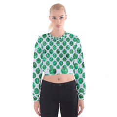 Circles2 White Marble & Green Marble (r) Cropped Sweatshirt