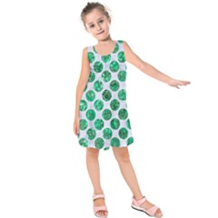 Circles2 White Marble & Green Marble (r) Kids  Sleeveless Dress