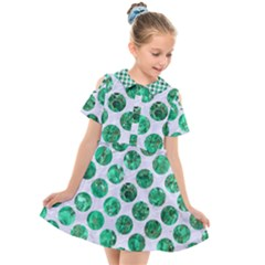 Circles2 White Marble & Green Marble (r) Kids  Short Sleeve Shirt Dress
