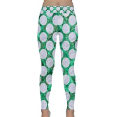 Circles2 White Marble & Green Marble Classic Yoga Leggings