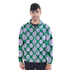 Circles2 White Marble & Green Marble Windbreaker (men)