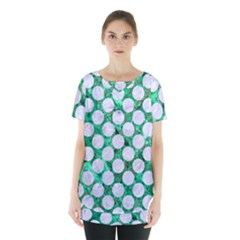 Circles2 White Marble & Green Marble Skirt Hem Sports Top