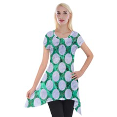 Circles2 White Marble & Green Marble Short Sleeve Side Drop Tunic