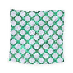 Circles2 White Marble & Green Marble Square Tapestry (small)