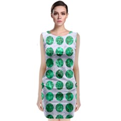 Circles1 White Marble & Green Marble (r) Classic Sleeveless Midi Dress