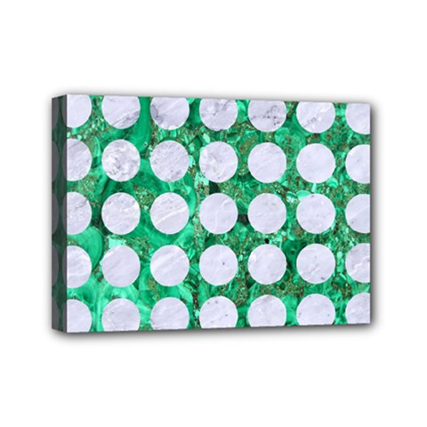 Circles1 White Marble & Green Marble Mini Canvas 7  X 5  by trendistuff