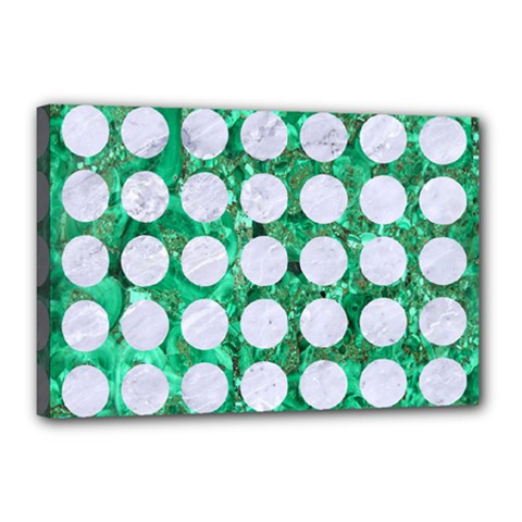 Circles1 White Marble & Green Marble Canvas 18  X 12