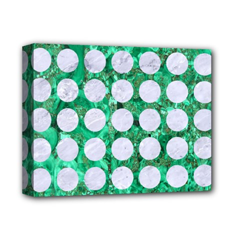 Circles1 White Marble & Green Marble Deluxe Canvas 14  X 11