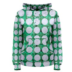 Circles1 White Marble & Green Marble Women s Pullover Hoodie