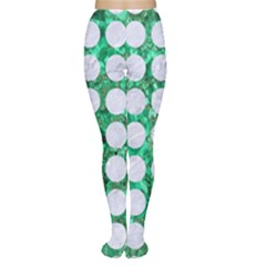 Circles1 White Marble & Green Marble Women s Tights