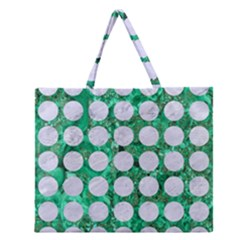 Circles1 White Marble & Green Marble Zipper Large Tote Bag