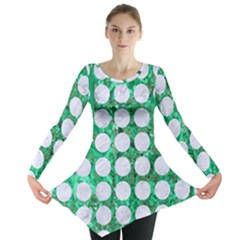 Circles1 White Marble & Green Marble Long Sleeve Tunic