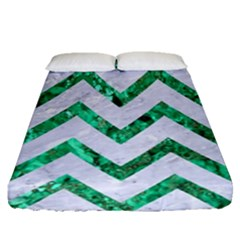 Chevron9 White Marble & Green Marble (r) Fitted Sheet (queen Size)