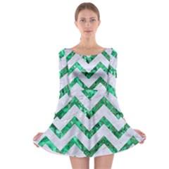 Chevron9 White Marble & Green Marble (r) Long Sleeve Skater Dress