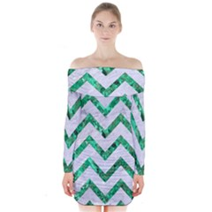 Chevron9 White Marble & Green Marble (r) Long Sleeve Off Shoulder Dress