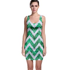 Chevron9 White Marble & Green Marble Bodycon Dress