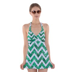 Chevron9 White Marble & Green Marble Halter Dress Swimsuit