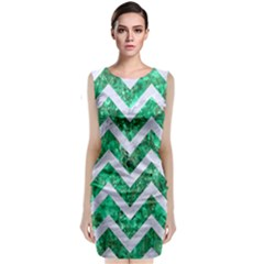 Chevron9 White Marble & Green Marble Classic Sleeveless Midi Dress