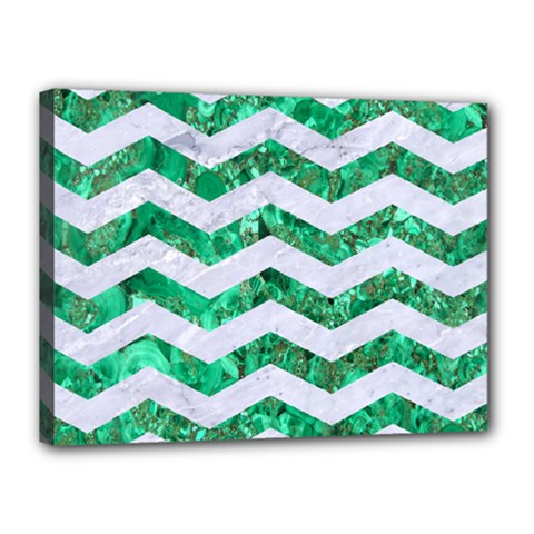 Chevron3 White Marble & Green Marble Canvas 16  X 12