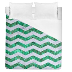 Chevron3 White Marble & Green Marble Duvet Cover (queen Size)