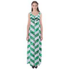Chevron1 White Marble & Green Marble Empire Waist Maxi Dress