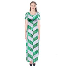 Chevron1 White Marble & Green Marble Short Sleeve Maxi Dress