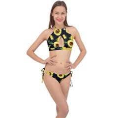 Sunflower Cross Front Halter Bikini Set