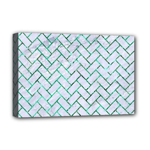 Brick2 White Marble & Green Marble (r) Deluxe Canvas 18  X 12   by trendistuff