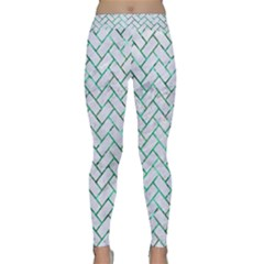 Brick2 White Marble & Green Marble (r) Classic Yoga Leggings
