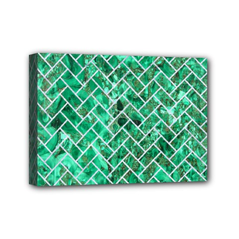 Brick2 White Marble & Green Marble Mini Canvas 7  X 5