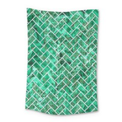 Brick2 White Marble & Green Marble Small Tapestry by trendistuff